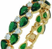 Emerald IMPERIALE - Genuine 18ct Gold Finished. Elements Emerald Green Colour Crystals Luxury Bracelet