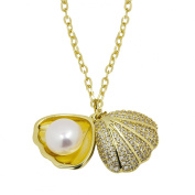 Lustrous - White Pearl in Shell Pendant Chain Necklace