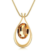Genuine Rose Jewellery 18k Real Rose Gold Plated Champagne Oval Crystal Pendant Long Chain Necklace Great Gift