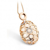 Genuine Rose Jewellery Women's 18k Real Rose Gold Plated Opal Oval Pendant Necklace