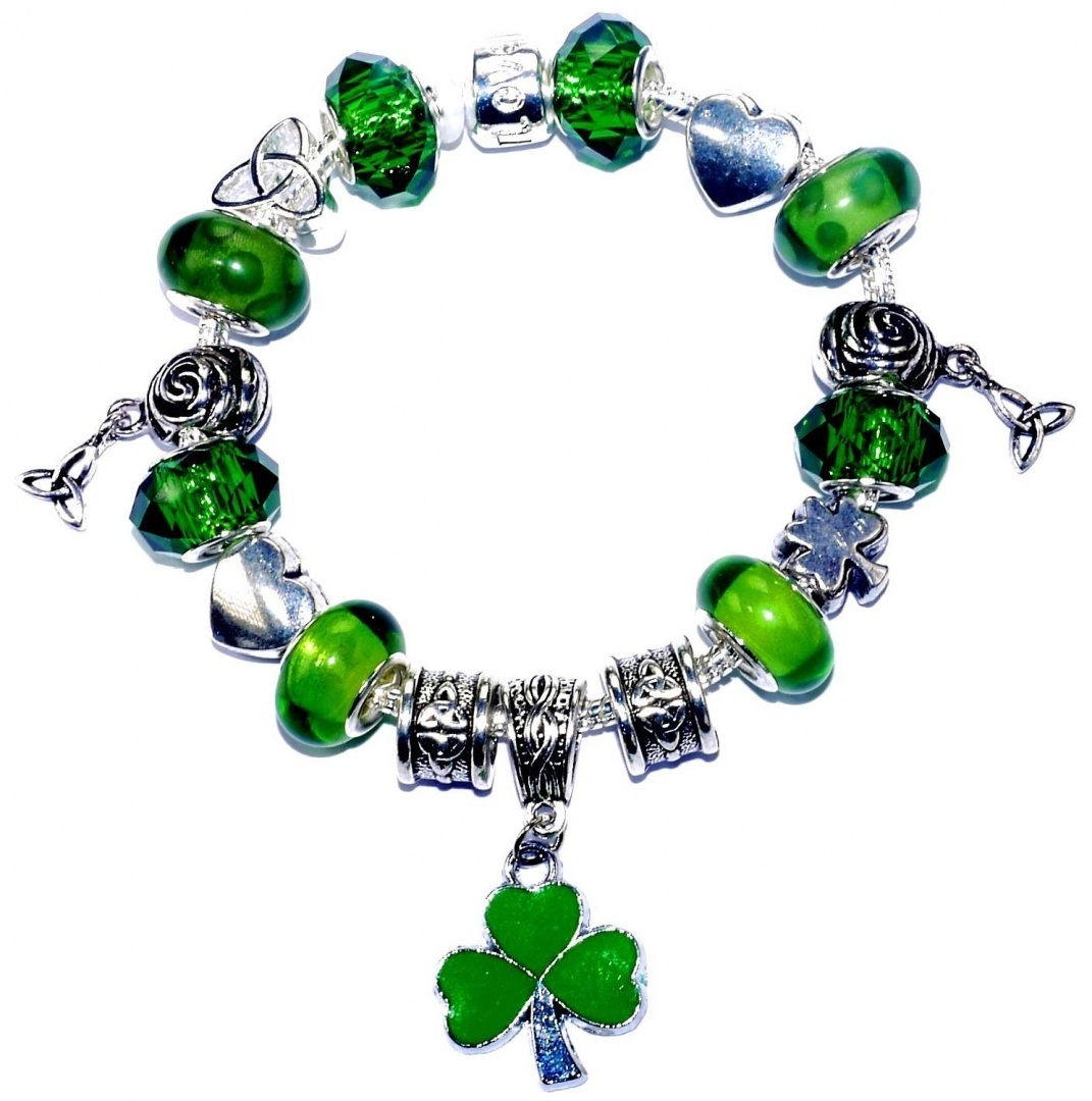 de78be5a3555a Celtic Heart Lucky Triquetra Shamrock Pandora Style Bracelet with Gift Box  Charms Beads Irish Jewellery