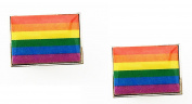 Gay Pride Rainbow Spectrum Novelty Cufflinks in GIFT BOX