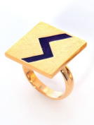 Statement Women Square Ring Lightning Zigzag Gold Plated Unique Gift Deal V