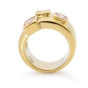 New Big Gold Plated Colourful CZ Cubic Zirconia Cocktail Ring Perfect Gift NWT N