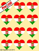 12 X PRE-CUT HUNGARIAN FLAG HEART EDIBLE RICE / WAFER PAPER CAKE TOPPERS BIRTHDAY PARTY DECORATION