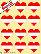 12 X PRE-CUT AUSTRIAN FLAG HEART EDIBLE RICE / WAFER PAPER CAKE TOPPERS BIRTHDAY PARTY DECORATION