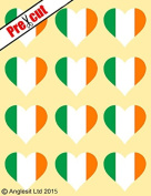 12 X PRE-CUT IRISH FLAG HEART EDIBLE RICE / WAFER PAPER CAKE TOPPERS BIRTHDAY PARTY DECORATION