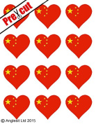 12 X PRE-CUT CHINESE FLAG HEART EDIBLE RICE / WAFER PAPER CAKE TOPPERS BIRTHDAY PARTY DECORATION