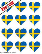 12 X PRE-CUT SWEDISH FLAG HEART EDIBLE RICE / WAFER PAPER CAKE TOPPERS BIRTHDAY PARTY DECORATION