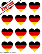 12 X PRE-CUT GERMAN FLAG HEART EDIBLE RICE / WAFER PAPER CAKE TOPPERS BIRTHDAY PARTY DECORATION