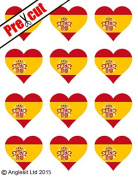 12 X PRE-CUT SPANISH FLAG HEART EDIBLE RICE / WAFER PAPER CAKE TOPPERS BIRTHDAY PARTY DECORATION
