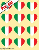 12 X PRE-CUT ITALIAN FLAG HEART EDIBLE RICE / WAFER PAPER CAKE TOPPERS BIRTHDAY PARTY DECORATION