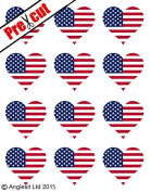 12 X PRE-CUT USA FLAG HEART EDIBLE RICE / WAFER PAPER CAKE TOPPERS BIRTHDAY PARTY DECORATION