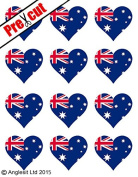 12 X PRE-CUT AUSTRALIAN FLAG HEART EDIBLE RICE / WAFER PAPER CAKE TOPPERS BIRTHDAY PARTY DECORATION