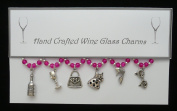 Girls Day Out Themed Wine Glass Charms Set of 6 Handmade Hot Pink