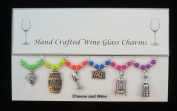 Cheese and Wine Themed Golden Wine Glass Charms Set of 6 Handmade Multi Neon