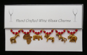 African Safari Themed Golden Wine Glass Charms Set of 6 Handmade Red