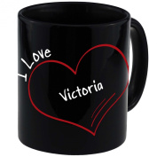 "Mug with ""I Love Victoria Modern Black"