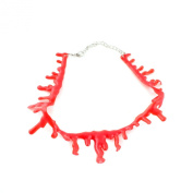 Horrible Thin Drip Red Blood Chain Gothic Creepy Choker Necklace for Halloween Party Supplies