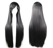 Ecloud ShopUS® Long Straight Anime Cosplay Wigs 80cm(Black) suitable to female