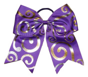 """New """"Silver Swirl PURPLE"""" Cheer Bow Pony Tail 7.6cm Ribbon Girls Hair Bows Cheerleading Dance Practise Football Games Competition Birthday"""