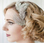 Women's Feather Crystal Rhinestone Hairpin Silver Wedding Bridal Comb