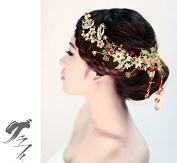 Women Gold Plated Rhinestone Hairpin Crystal Flower Bridal Comb