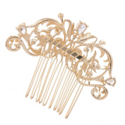 Women's Rhinestone Hairpin Gold Plated Bridal Claw Comb