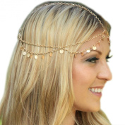 Q & Q Fashion® Grecian Gold Draping Disc Coin Hair Crown Chain Flapper Head Dress Piece Band,Head Chain:60cm