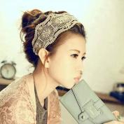 Popfeel Lady Girl Lace Headband Retro Hair Band Wide Head wraps Hair Accessories