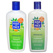 Kiss My Face All Natural Organic Whenever Shampoo and Conditioner With Moroccan Argan Oil For Hair, Vitamin E, Sage, Lavender, Green Tea, Chamomile and Eucalyptus For All Hair Types, 330ml each