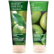 Desert Essence All Natural Organic Green Apple & Ginger Volumizing Shampoo and Conditioner Bundle With Aloe Vera, Kelp, Nettle and Ginger for Cleansing Environmental Pollutants, 240ml each