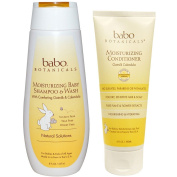Babo Botanicals All Natural Calendula Oat Milk Baby Shampoo & Wash and Conditioner Bundle For Dry, Damaged Hair and Sensitive Scalp With Aloe Vera, Kudzu, Meadowsweet and Watercress, 8 & 180ml
