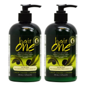 """Hair One Hair Cleanser and Conditioner for Dry Hair with Olive Oil 355ml / 12oz """"Pack of 5.1cm"""
