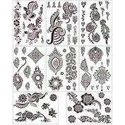 BMC 8 Sheet Set Ornate Floral Brown Colour Temporary Body Art Henna Tattoos