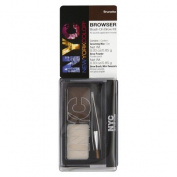 NYC Browser Brush-on Brow Powder with Grooming Wax and Tweezers / Eye Brown Kit - Brunette