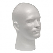 Case Pack of 4 Giell Styrofoam Foam Mannequin Wig Head Display Male White