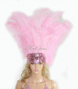 Hot-fans Ostrich Feathers Sequins Open Face Headdress, Pink