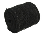 Kel-Toy Burlap Ribbon with Woven Wired Edge, 4 x 10 yd, Black