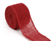Kel-Toy Burlap Ribbon with Woven Wired Edge, 2.5 x 10 yd, Red