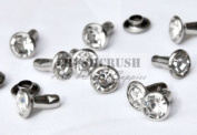 40Set 8mm Crystal Clear Synthetic Rhinestone Rivets Diamond RV021