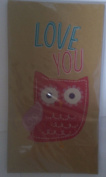 Printed Lunch Paper Party Sacks Rustic Red and Pink Owl with 'Love You' on Brown Paper