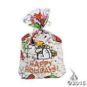 Peanuts Christmas Party Loot Cellophane Bags Snoopy, Woodstock, Stockings and Presents