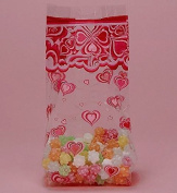 Groovy Hearts Cello Bags, Pack of 25 Great for Valentines Day or Weddings