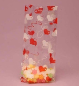 Red and White Hearts Cello Bags, Pack of 25 Great for Valentines Day or Weddings