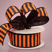 2.5cm - 1.3cm X 10YD ORANGE/BLACK WIRED STRIPE SPIRIT RBN