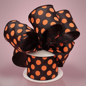 5.1cm - 1.3cm X 10YD ORANGE/BLACK WIRED DOT SPIRIT RIBBON