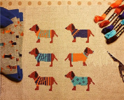 colourful dogs colourful days, DMC thread Counted Cross Stitch Kit ,14ct 27*27cm 90*90stitch Count Cross Stitches
