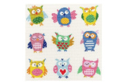 colourful owls colourful days, 14ct 148x134 stitch, 37x35cm counted cross stitch kits