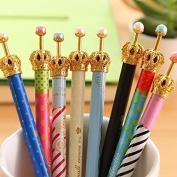 LEFV™ Set of 8 Korean Cute Crown Design Roller Pen Gel Ink Rollerball Pen Black Ink Fine Point Creative Stationery for Artist School Office Family Use